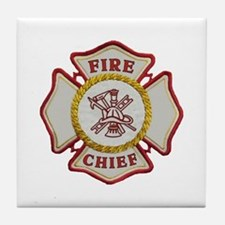 Fire Chief Maltese Tile Coaster