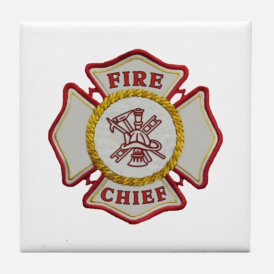 Fire Chief Maltese Tile Coaster