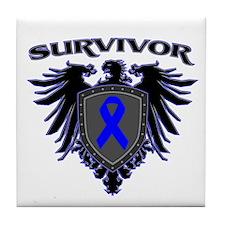 Colon Cancer Survivor Eagle C Tile Coaster