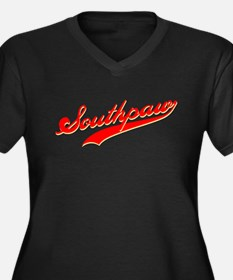 Southpaw Women's Plus Size V-Neck Dark T-Shirt