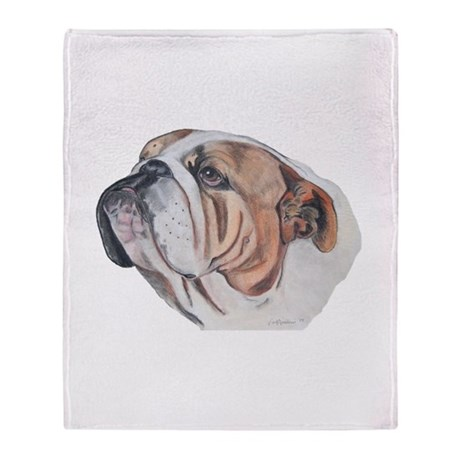 Bulldog Portrait Throw Blanket