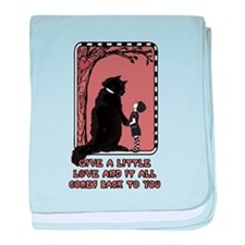Give a little love (cat & girl) baby blanket