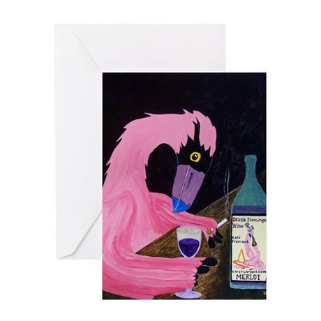 Drunk Flamigo Merlot Greeting Card