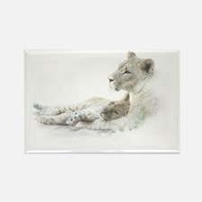 Lioness and Cub Rectangle Magnet