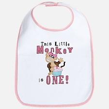 Monkey 1st Birthday Pink Bib