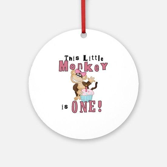 Monkey 1st Birthday Pink Ornament (Round)