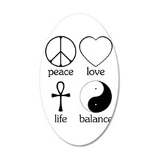 Peace Love Life Balance 22x14 Oval Wall Peel