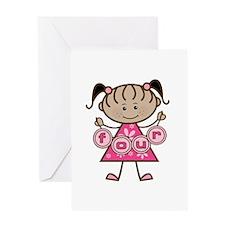 Little Girl 4th Birthday Greeting Card