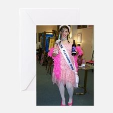 Drunk Flamingo Wine Girl Greeting Card