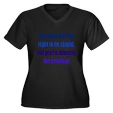 Right to be Stupid Women's Plus Size V-Neck Dark T