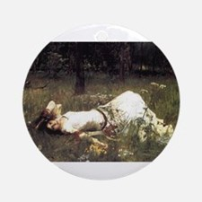 Ophelia Lying in the Meadow Ornament (Round)
