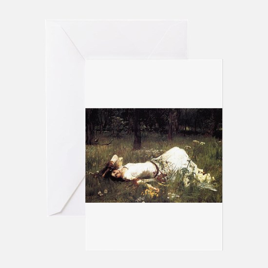 Ophelia Lying in the Meadow Greeting Card