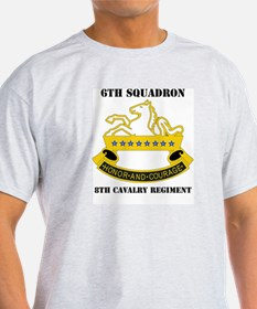 DUI - 6th Sqdrn - 8th Cavalry Regt with Text T-Shirt