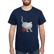 Kitty With Yarn Heart T-Shirt
