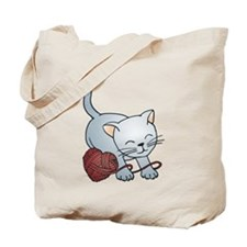 Kitty With Yarn Heart Tote Bag