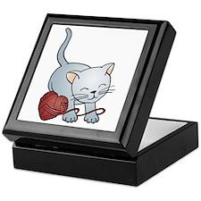 Kitty With Yarn Heart Keepsake Box