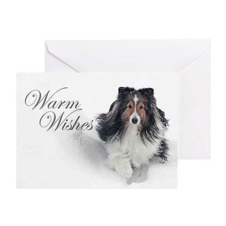 Warm Wishes Sheltie Xmas Cards (Pk of 10)