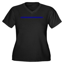 The Thin Blue Line Women's Plus Size V-Neck Dark T