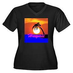 Hawaii VI Women's Plus Size V-Neck Dark T-Shirt