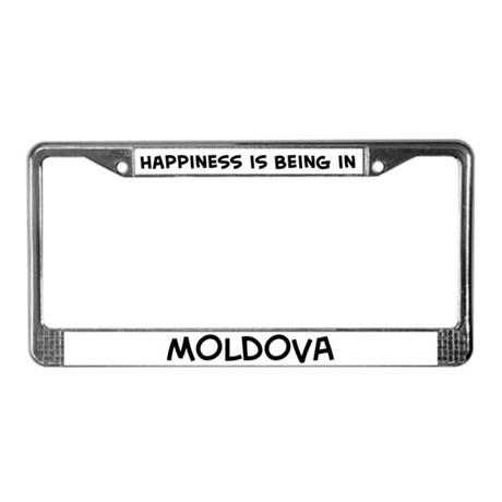 Happiness is Moldova License Plate Frame