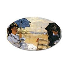 Beach at Trouville 22x14 Oval Wall Peel