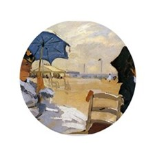 "Beach at Trouville 3.5"" Button"