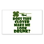 Does This Clover Make Me Look Drunk? Sticker (Rect