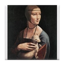 Lady with an Ermine Tile Coaster