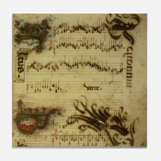 Cute Vintage sheet music Tile Coaster