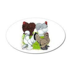 Feather-legged Bantams 22x14 Oval Wall Peel