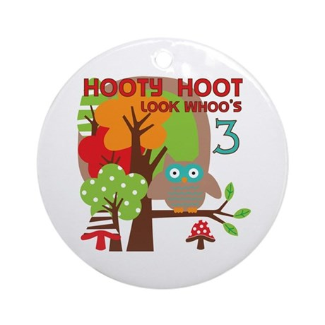 Hooty Hoot 3rd Birthday Ornament (Round)