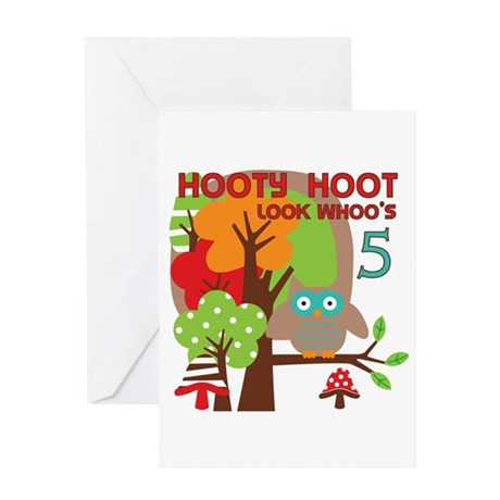 Hooty Hoot 5th Birthday Greeting Card