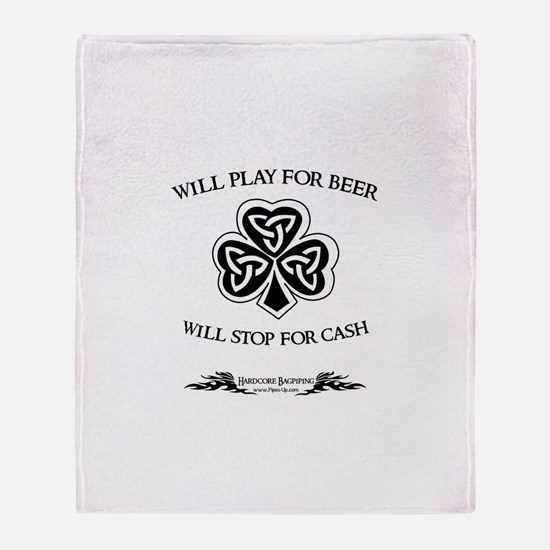 Will Play For Beer Throw Blanket