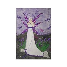 Dragonfly Lillies Rectangle Magnet