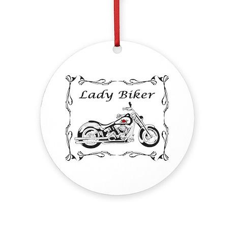 Lady Biker II Ornament (Round)