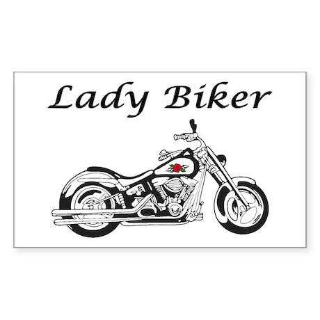 Lady Biker I Sticker (Rectangle)
