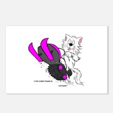 Snowmobile Cat Pink Postcards (Package of 8)