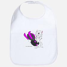 Snowmobile Cat Pink Bib