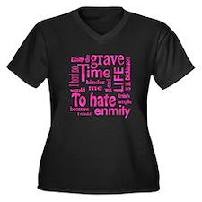 No Hate Women's Plus Size V-Neck Dark T-Shirt