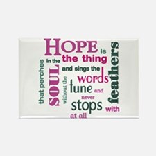 Hope with Feathers Rectangle Magnet