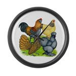 Purebred Bantam Quartet Large Wall Clock
