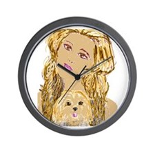 Dog Woman Wall Clock