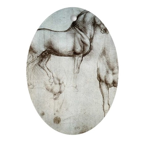 Study of Horses Ornament (Oval)