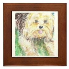 Portrait of a Yorkie Framed Tile