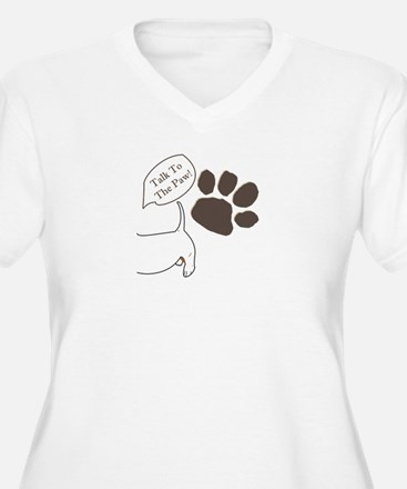 Talk To The Paw Women's Plus V-Neck T-Shirt