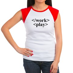 End Work Begin Play Women's Cap Sleeve T-Shirt