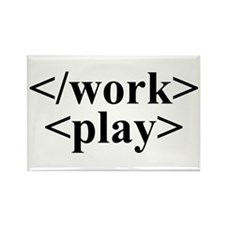 End Work Begin Play Rectangle Magnet