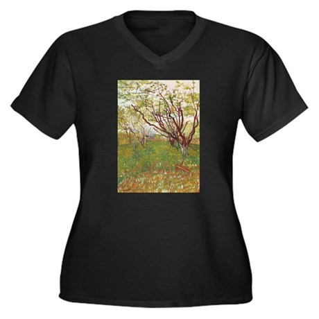 Cherry Tree Women's Plus Size V-Neck Dark T-Shirt