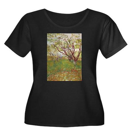 Cherry Tree Women's Plus Size Scoop Neck Dark T-Sh