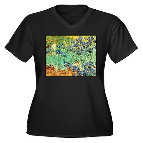 Irises Women's Plus Size V-Neck Dark T-Shirt